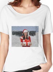 Christmas girl with gift Women's Relaxed Fit T-Shirt