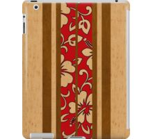 Pupukea Hawaiian Faux Koa Wood Surfboard with Red Hibiscus Pareau iPad Case/Skin