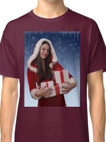 Christmas girl with gifts Classic T-Shirt