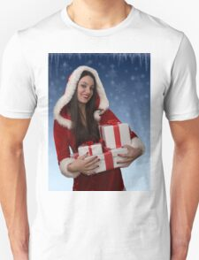 Christmas girl with gifts Unisex T-Shirt