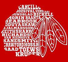Chicago Blackhawks Team Tee by Matthew Durbin