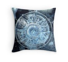 Polar bear, starry skies compass Throw Pillow