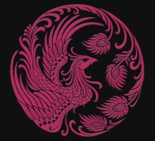 Traditional Pink Chinese Phoenix Circle Kids Tee