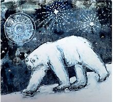 Polar bear under starry skies Photographic Print
