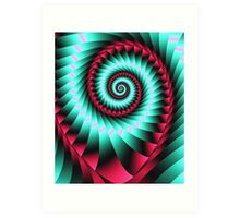 Giant Spiral in mint and pink Art Print