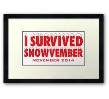Funny 'I Survived Snowvember 2014' Winter Storm T-Shirt Framed Print