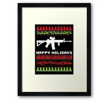 Funny AR-15 Ugly Christmas Sweater T-Shirt and Gifts Framed Print
