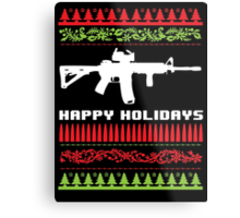 Funny AR-15 Ugly Christmas Sweater T-Shirt and Gifts Metal Print