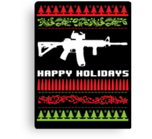 Funny AR-15 Ugly Christmas Sweater T-Shirt and Gifts Canvas Print