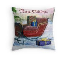 Sleigh Christmas Card Throw Pillow