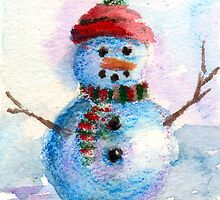 Frosty Christmas Card by Brenda Thour