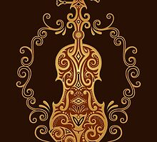 Intricate Brown Tribal Violin Design by Jeff Bartels