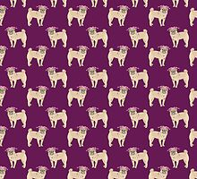 Pug dogs cute repeating pattern by jazzydevil