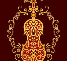Intricate Golden Red Tribal Violin Design by Jeff Bartels