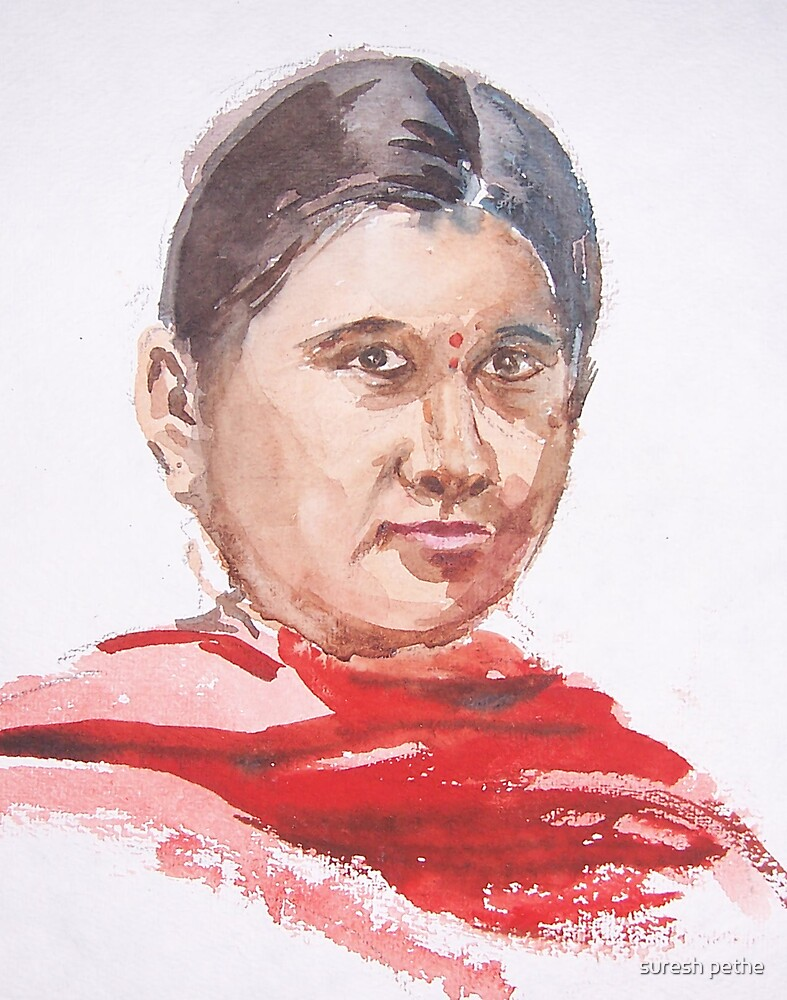 portrait of a girl in red dupatta by suresh pethe