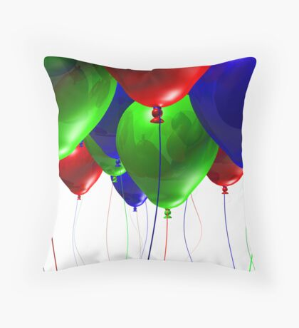 Colorful 3d Balloons Throw Pillow