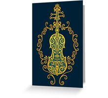 Intricate Blue and Yellow Tribal Violin Design Greeting Card