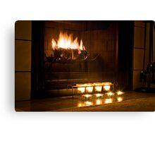 Warm fireplace Canvas Print