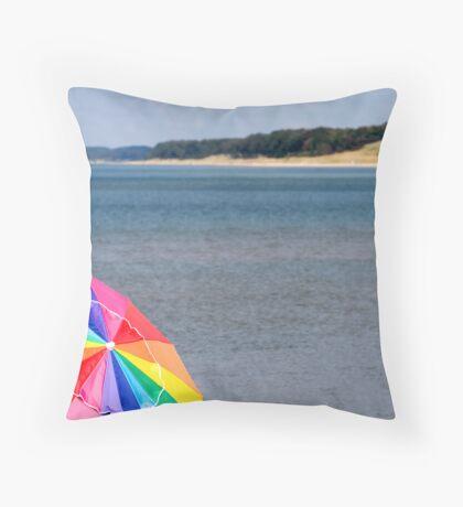 Beach with Umbrella Throw Pillow