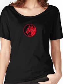 Growling Red and Black Wolf Circle Women's Relaxed Fit T-Shirt