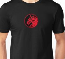 Growling Red and Black Wolf Circle Unisex T-Shirt