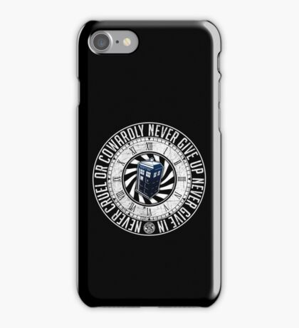 Never Cruel Or Cowardly - Doctor Who - TARDIS Clock iPhone Case/Skin