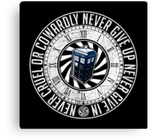Never Cruel Or Cowardly - Doctor Who - TARDIS Clock Canvas Print