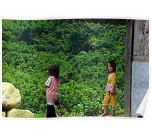 Two Little Girls - Sa Pa, Vietnam. Poster