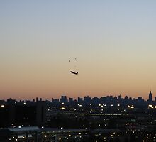 New York City Skyline at sunrise with plane taking off #2 by cfam