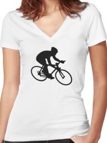 Cycling race Women's Fitted V-Neck T-Shirt