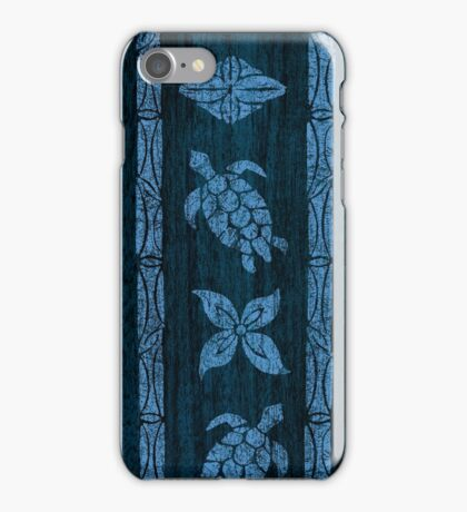 Samoan Tapa Faux Koa Wood Hawaiian Surfboard - Blue iPhone Case/Skin