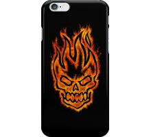 Hard Core Illustrated Flaming Skull - Black Background iPhone Case/Skin