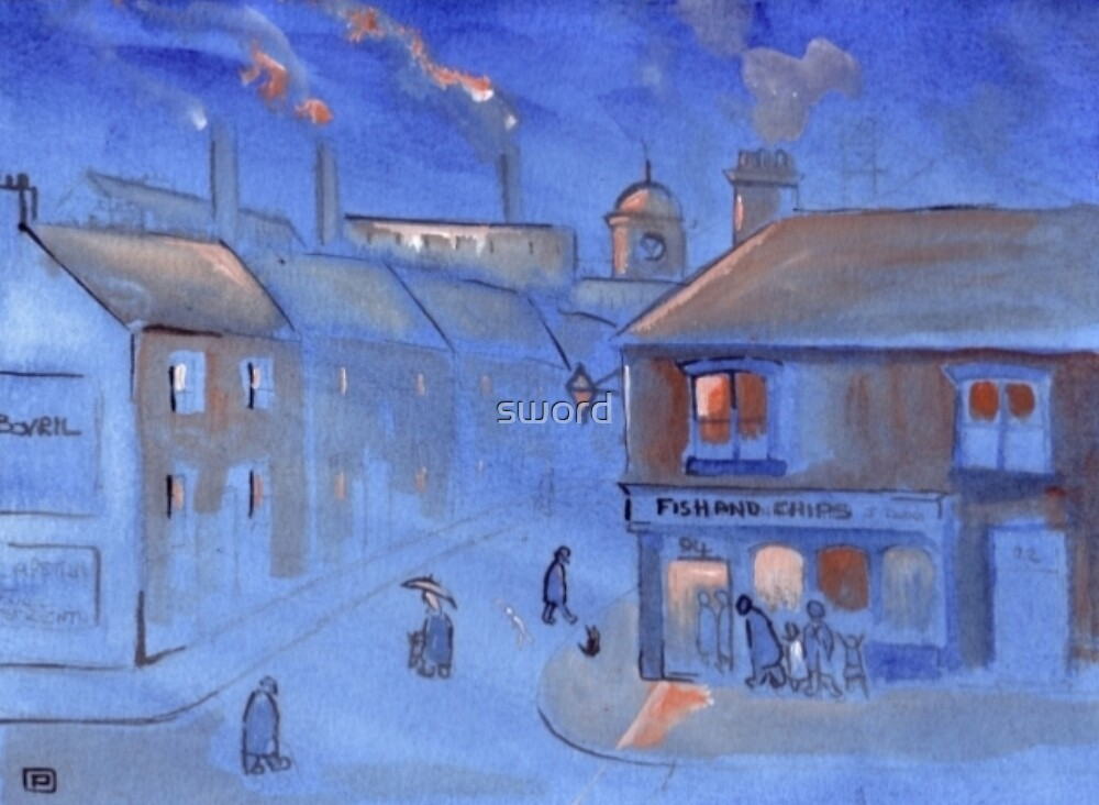 The fish and chip shop (from my original acrylic painting) by sword
