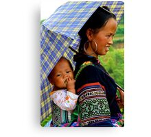 A Baby and his Young Mother - Sa Pa, Vietnam. Canvas Print