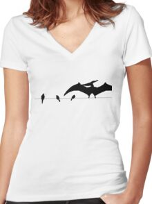 Bird on a wire white Women's Fitted V-Neck T-Shirt