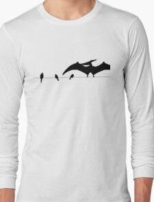 Bird on a wire white Long Sleeve T-Shirt