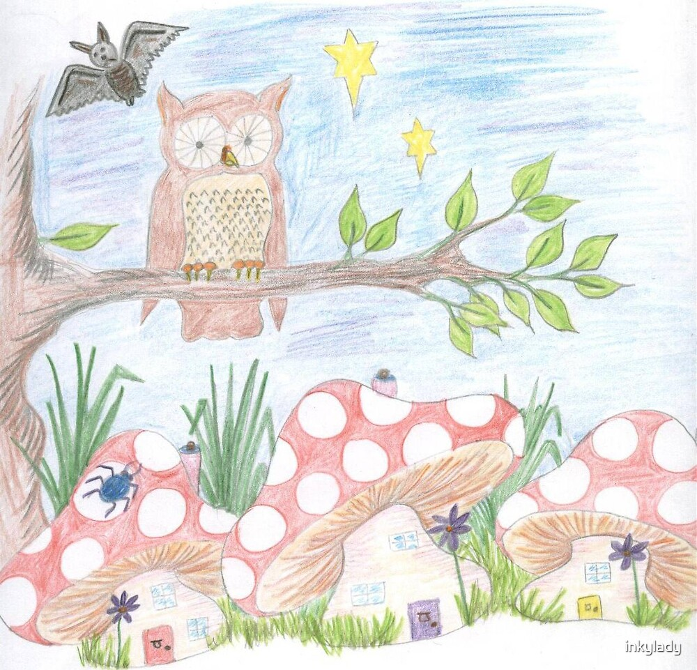 owl & mushrooms by inkylady