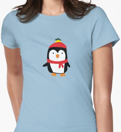 Hand Drawn Penguin T-shirt Womens Fitted T-Shirt