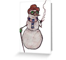 Smoking Steampunk Snowman Greeting Card