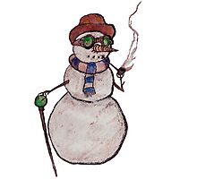 Smoking Steampunk Snowman Photographic Print
