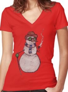 Smoking Steampunk Snowman Women's Fitted V-Neck T-Shirt