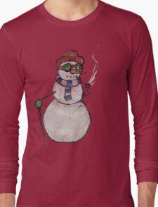 Smoking Steampunk Snowman Long Sleeve T-Shirt