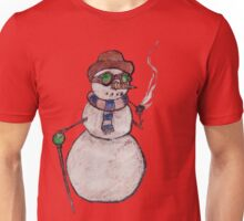 Smoking Steampunk Snowman Unisex T-Shirt
