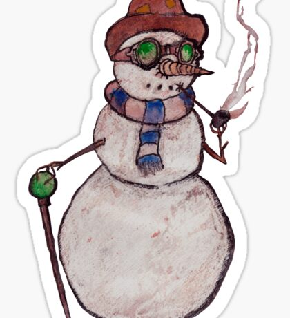Smoking Steampunk Snowman Sticker