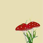 Cute Mini Red Mushrooms  by bardenne