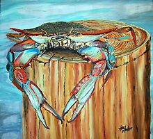 Blue Crab on Piling by John Windsor