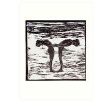 Yoga Couple 1 - Woodcut Art Print