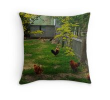 Chook Yard Throw Pillow