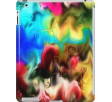 abstract art, blue, purple, yellow, white, red, black iPad Case/Skin