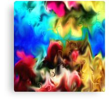 abstract art, blue, purple, yellow, white, red, black Canvas Print